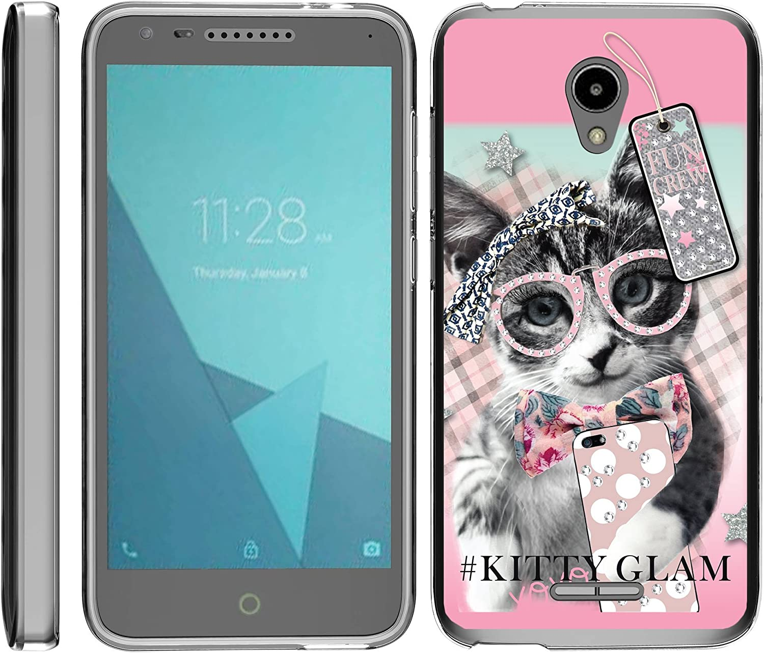 TurtleArmor | Compatible with Alcatel IdealXCITE Case | Alcatel Raven Case [Flexible Armor] Ultra Slim Compact Clear Flexible TPU Case Fitted Soft Bumper Cover Girl - Hipster Cat