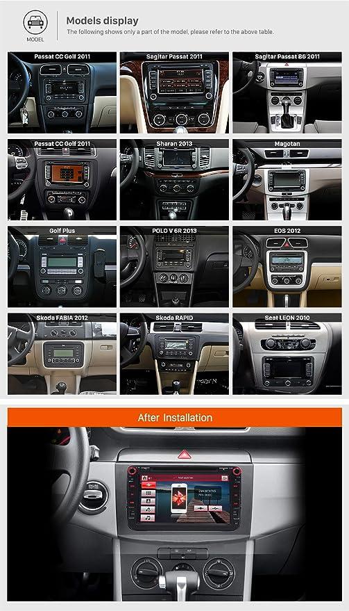 FoIIoE - Reproductor de DVD para coche (2 DIN, VW, 8 pulgadas, Wince 6.0, radio estéreo, GPS, navegación, 1080P, enchufes OEM Canbus para VW Skoda Seat (con ...