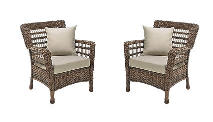 Amazon.com: Juego de 2 sillas de mimbre sintético para ...