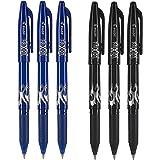 Pilot FriXion Ball 0.7mm Erasable Gel Pens, Fine Point, 3 Black Pens & 3 Blue Pens (6 PACK)