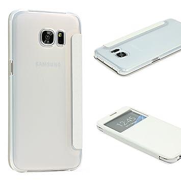 URCOVER® Samsung Galaxy S7 Edge | Carcasa Protectora | Plastico + TPU en Blanco | Funda con Ventana Flip Case Wallet Cover Estuche Smartphone