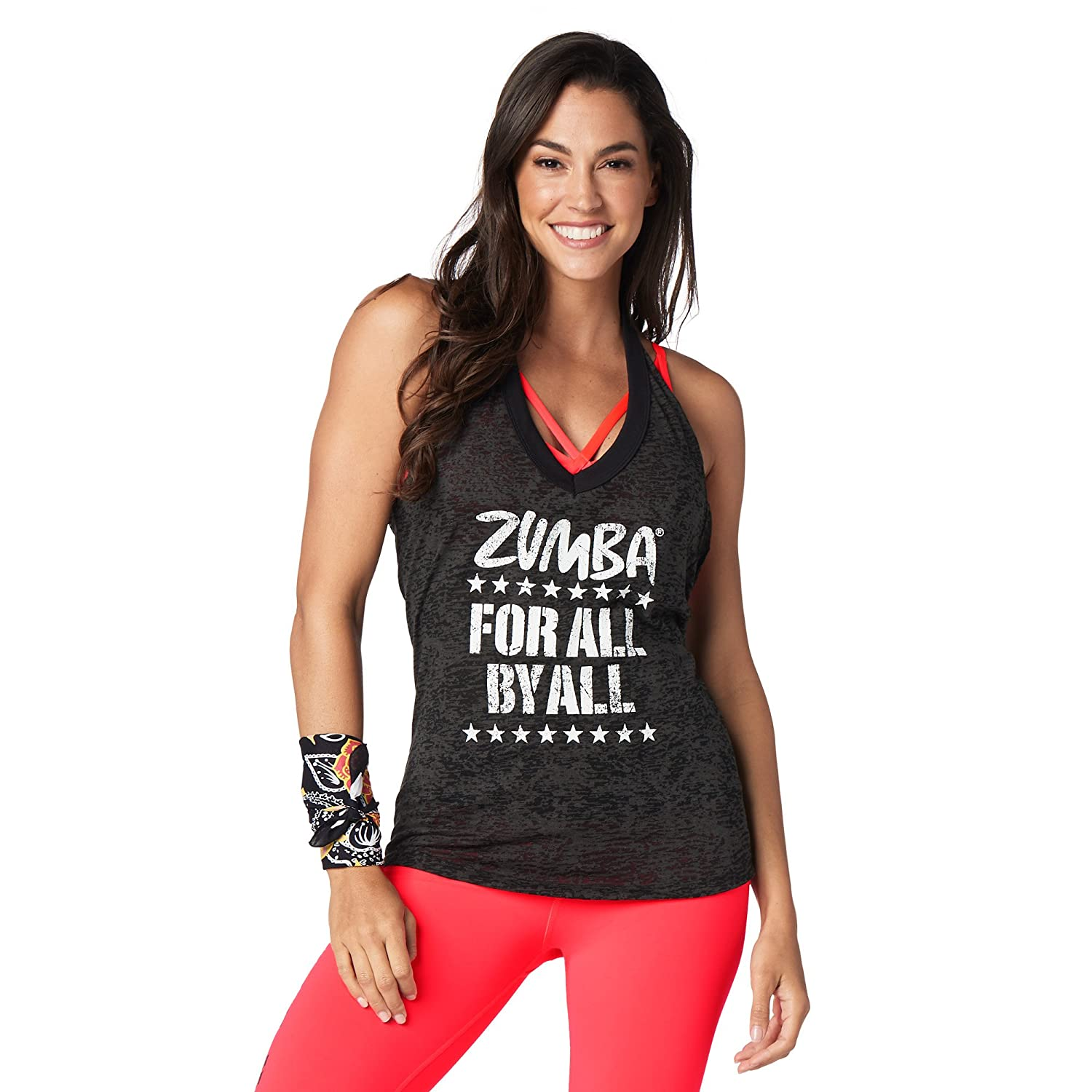 Zumba Women's Fashion Print Loose Fit Workout Halter Top Tank