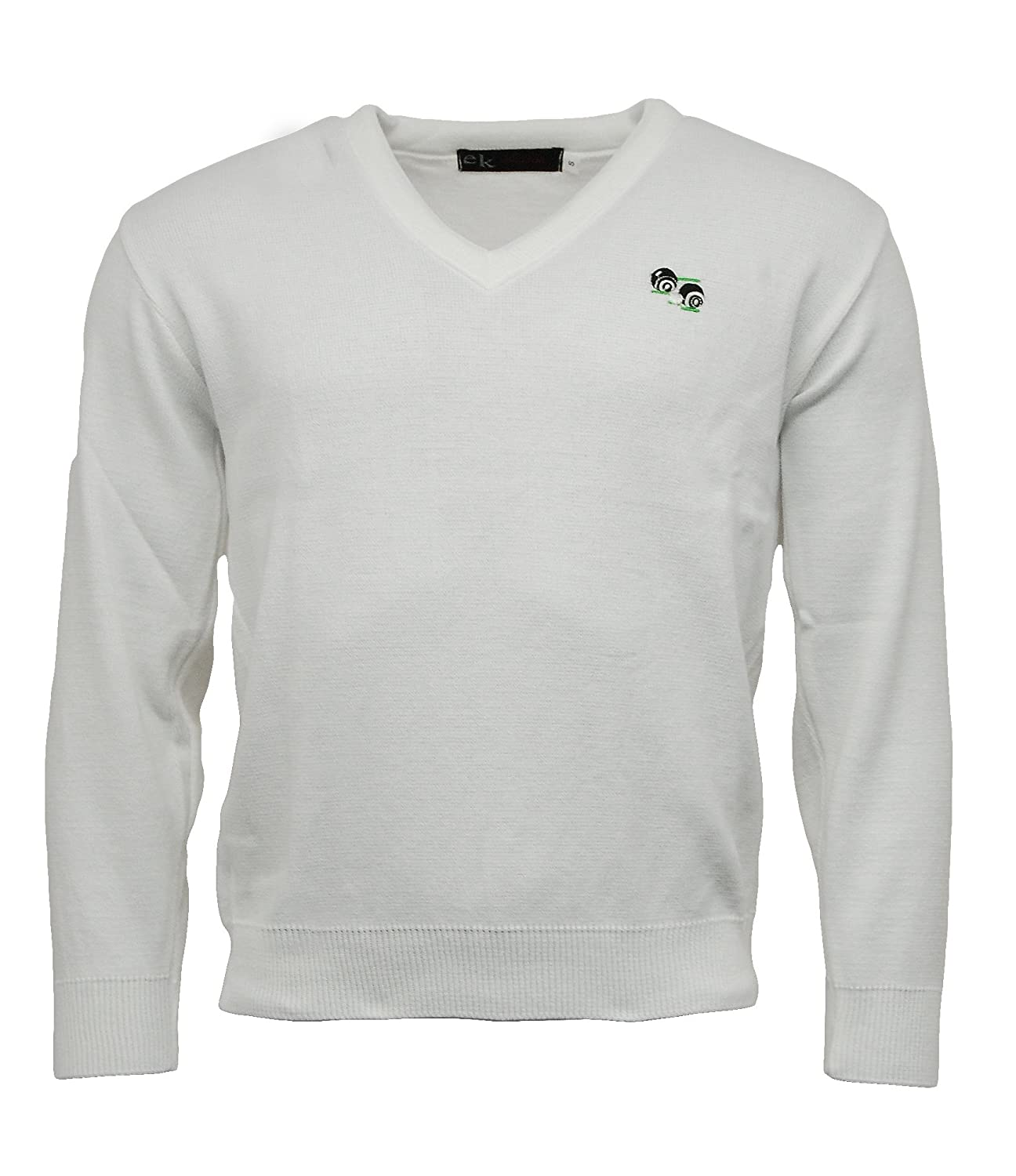 Bowls Lawn Bowling V-Neck White Jumper with Logo Express Knitwear