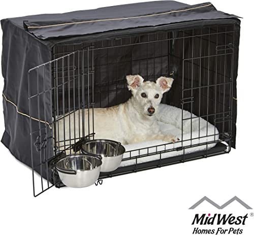MidWest iCrate Starter Kit The Perfect Kit for Your New Dog Includes a Dog Crate, Dog Crate Cover, 2 Dog Bowls Pet Bed 1-Year Warranty on ALL Items
