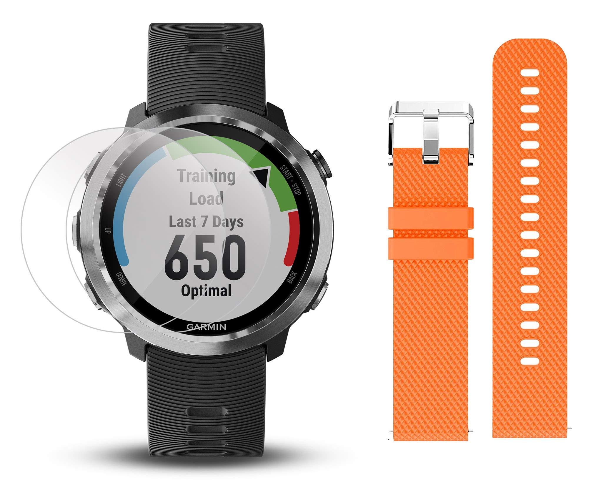 Garmin Forerunner 645 Bundle with Extra Band & HD Screen Protector Film (x4) | Running GPS Watch, Wrist HR, LiveTrack, Garmin Pay (Stainless, Orange)