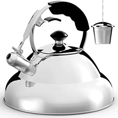 Tea Kettle - Surgical Whistling Teapot with Capsule Bottom and Mirror Finish, 2.75 Quart Tea Pot - Stove Top Tea Maker Infuser Teapots Strainer Included … (Single Handle)