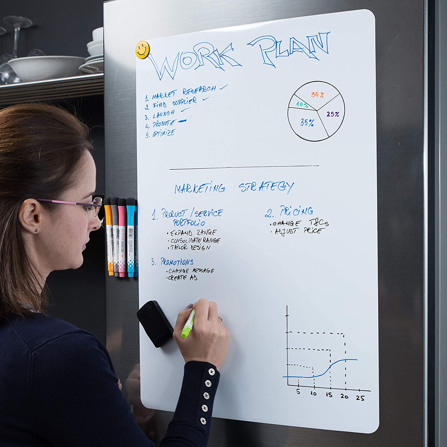 """Extra Large Magnetic Dry Erase Whiteboard Sheet for Fridge 25x17"""" with New Stain Resistant Technology - Best Value All Included - White Board for Refrigerator - Kitchen Whiteboard - Reminder Board"""