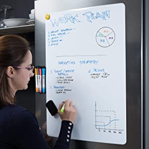 "Extra Large Magnetic Dry Erase Whiteboard Sheet for Fridge 25x17"" with New Stain Resistant Technology - Best Value All Included - White Board for Refrigerator - Kitchen Whiteboard - Reminder Board"