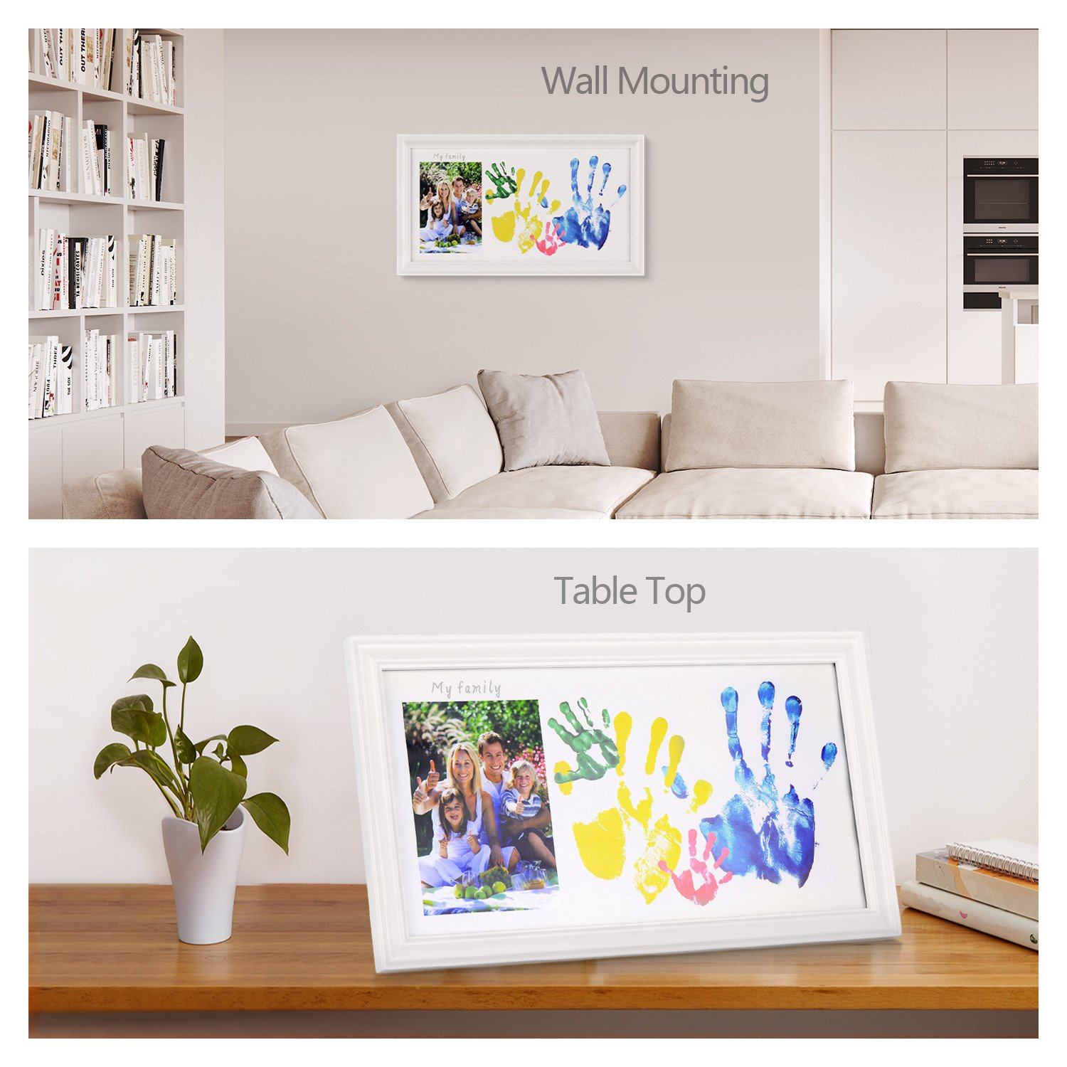 DIY Family Photo+ Family/Baby Handprints/Footprints Kit with 10 X 17'' Elegant White Wood Picture Frame, Non-Toxic Watercolor Paints, Baby Clean-Touch Ink Pad, Baby Registry Shower Keepsakes Gifts by NWK (Image #2)