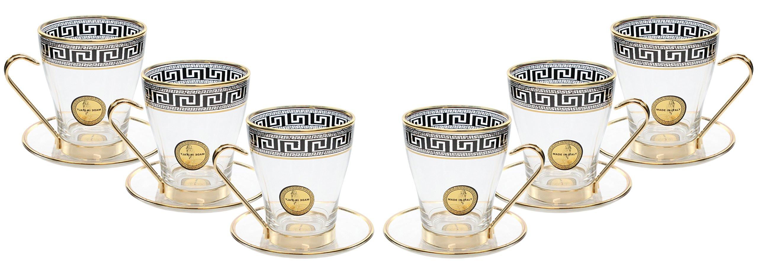 Italian Collection Set of 6 Crystal 8 Oz Turkish Tea Glasses, 24K Gold Rim, Vintage Luxury Pattern