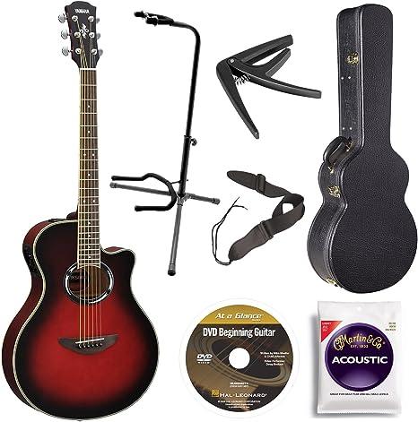 Yamaha apx500iii eléctrico acústica con guitarra, atardecer sol ...