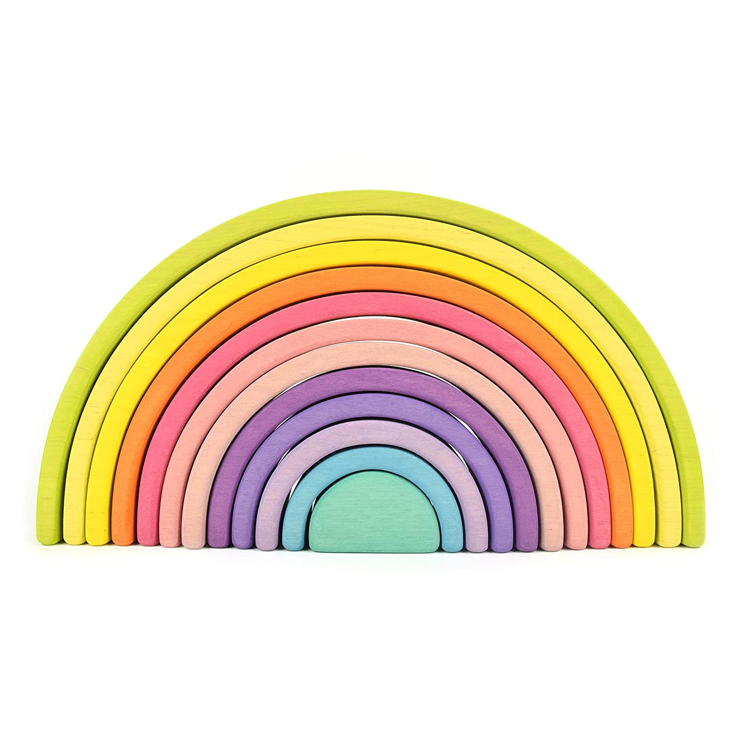 Rainbow blocks Rainbow stacker Wooden rainbow stacking Pastel colors Waldorf baby toys Montessori wooden rainbow toy Wooden toys Rainbow tower Education 12 Pcs pieces Extra Large Lime