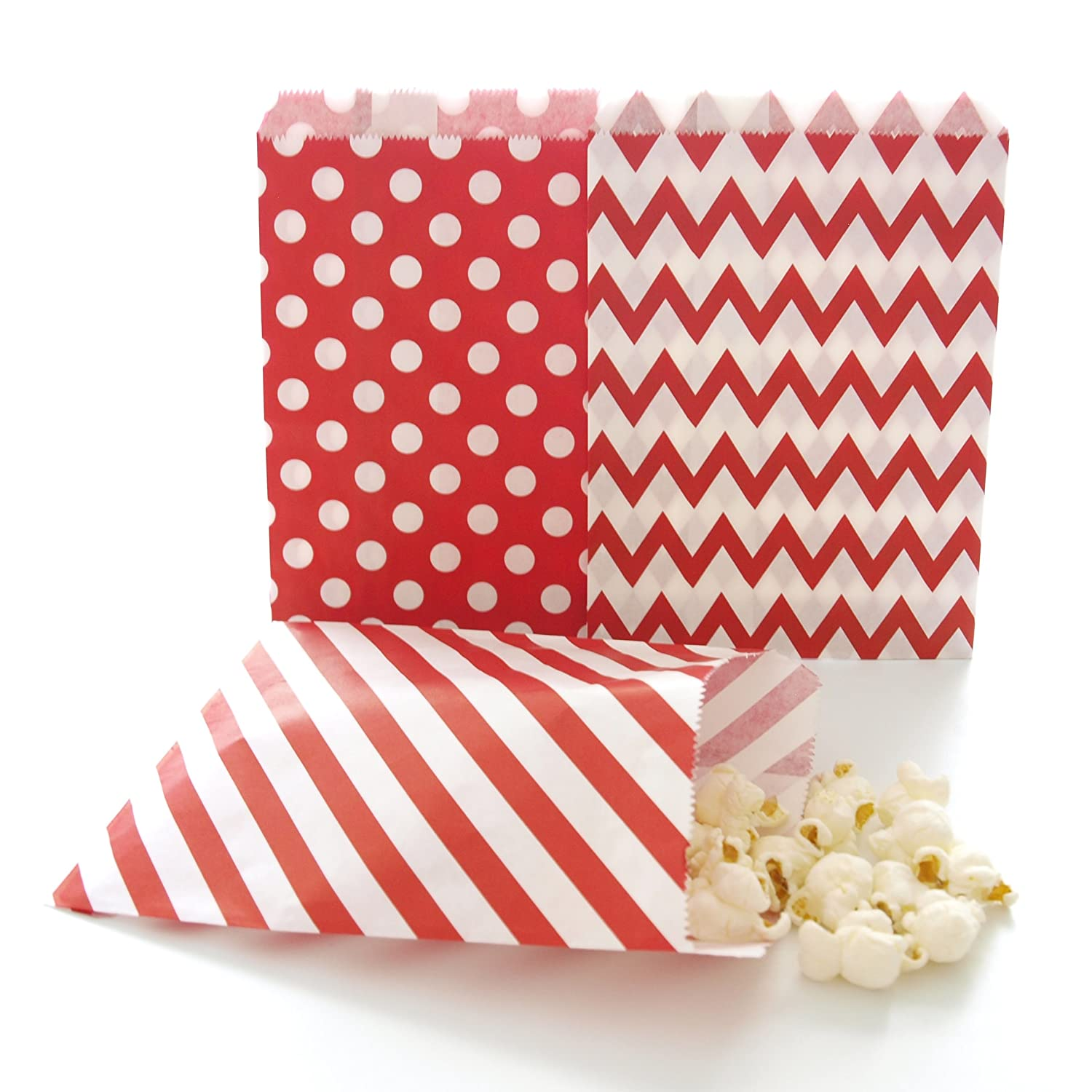 Amazon.com: Red Party Bags, Paper Christmas Candy Treat Bags ...