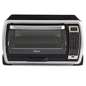 Oster Large Digital Countertop Convection Toaster Oven, 6 Slice, Black/Polished Stainless (TSSTTVMNDG-SHP-2) (Certified Refurbished)