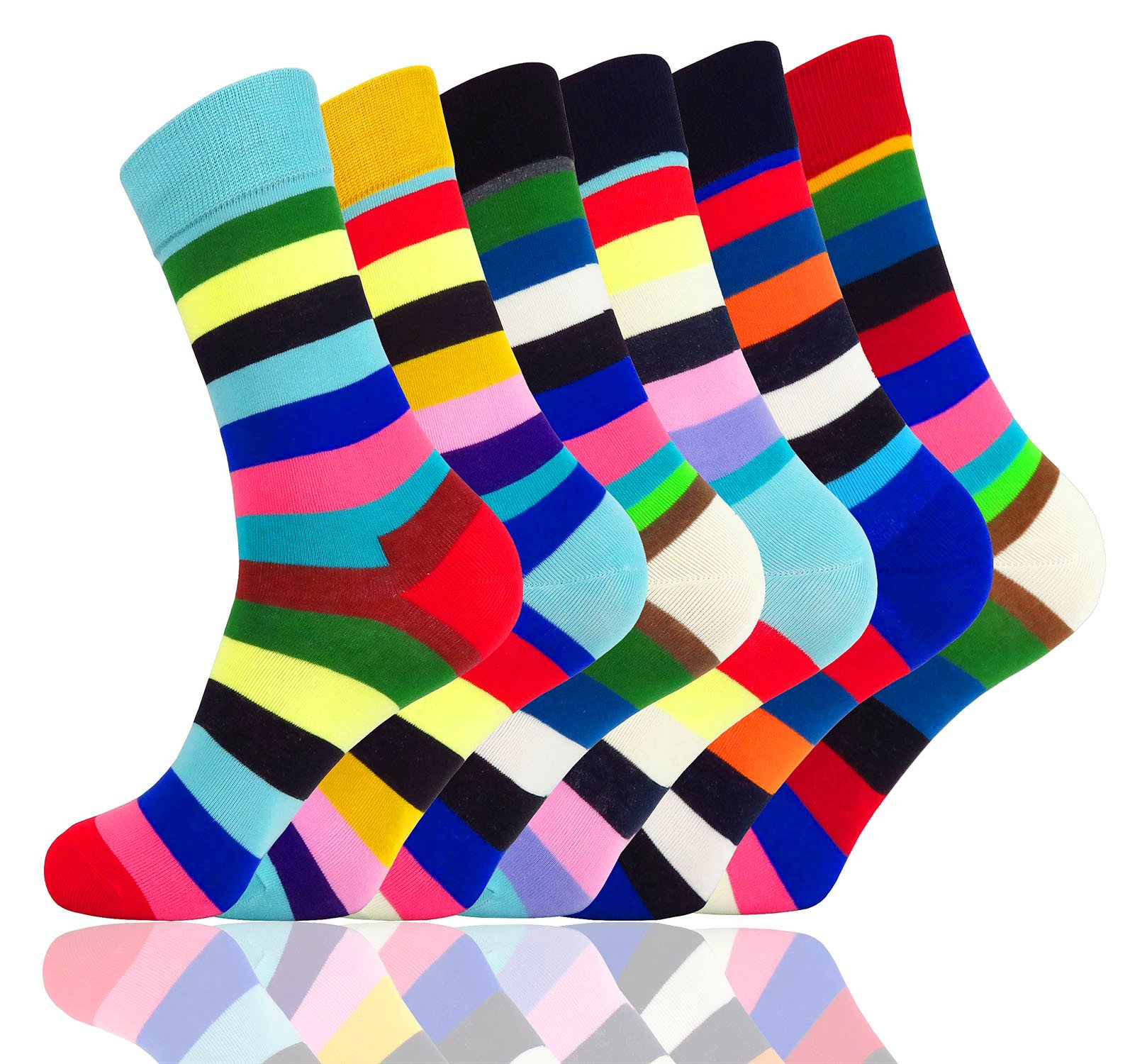 WEILAI SOCKS Men's 6 Pack Design Multicolored Stripe Print Pattern Cotton Casual Crew Dress Socks