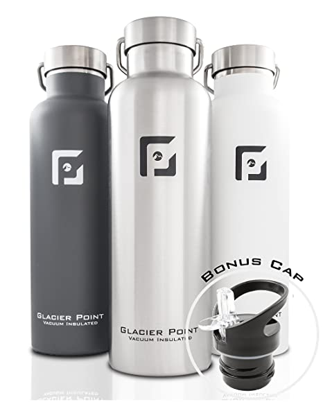 Glacier Point Vacuum Insulated Stainless Steel Water Bottle (25oz / 17oz) Double Walled Construction, Premium Powder Coating, Zero Condensation!