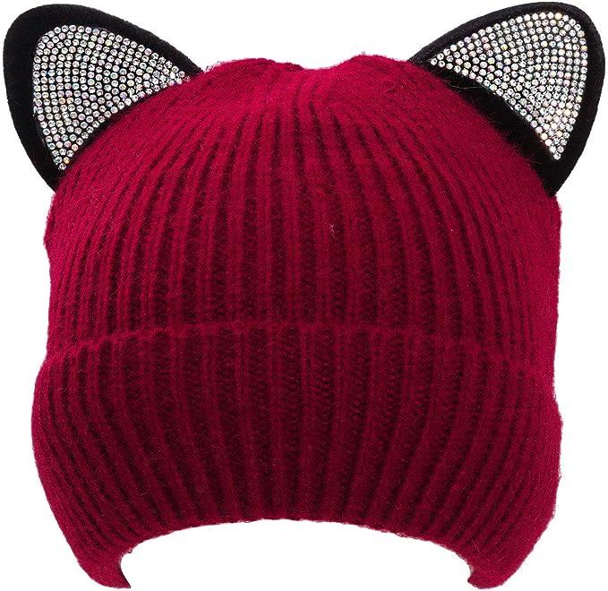 Cappello donna cappellino cuffia berretta beanie orecchie gatto strass M2801