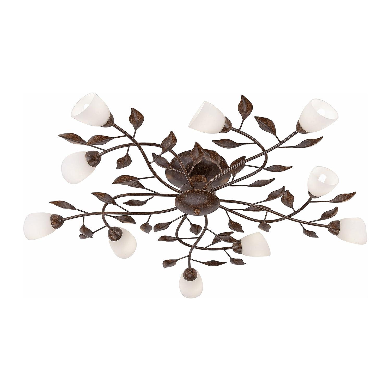Landhaus-Leuchte, rustikale Astleuchte mit Blättern Ranken, Fassung G9 LED fähig, Rost-Optik (Deckenleuchte)