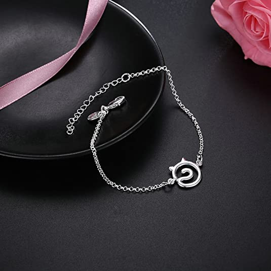 Amazon.com: Aokarry Copper Bracelets for Women Girls Teens Simple Cat Face Silver Length: 17+3 CM: Jewelry