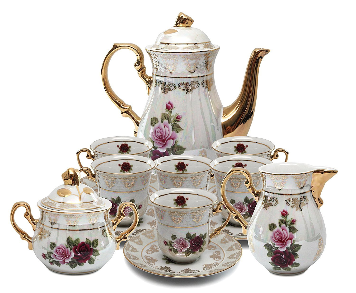 Royalty Porcelain 17pc Floral Tea Set, 24K Gold-Plated Original Cobalt Tableware, Service for 6