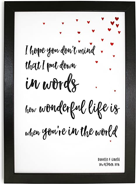 Elton John Ellie Goulding Your Song Inspired Framed Typography Graphic Design Print Of Your Song Lyrics Fully Personalised A4 Black White Or Oak Effect Frame Amazon Co Uk Kitchen Home
