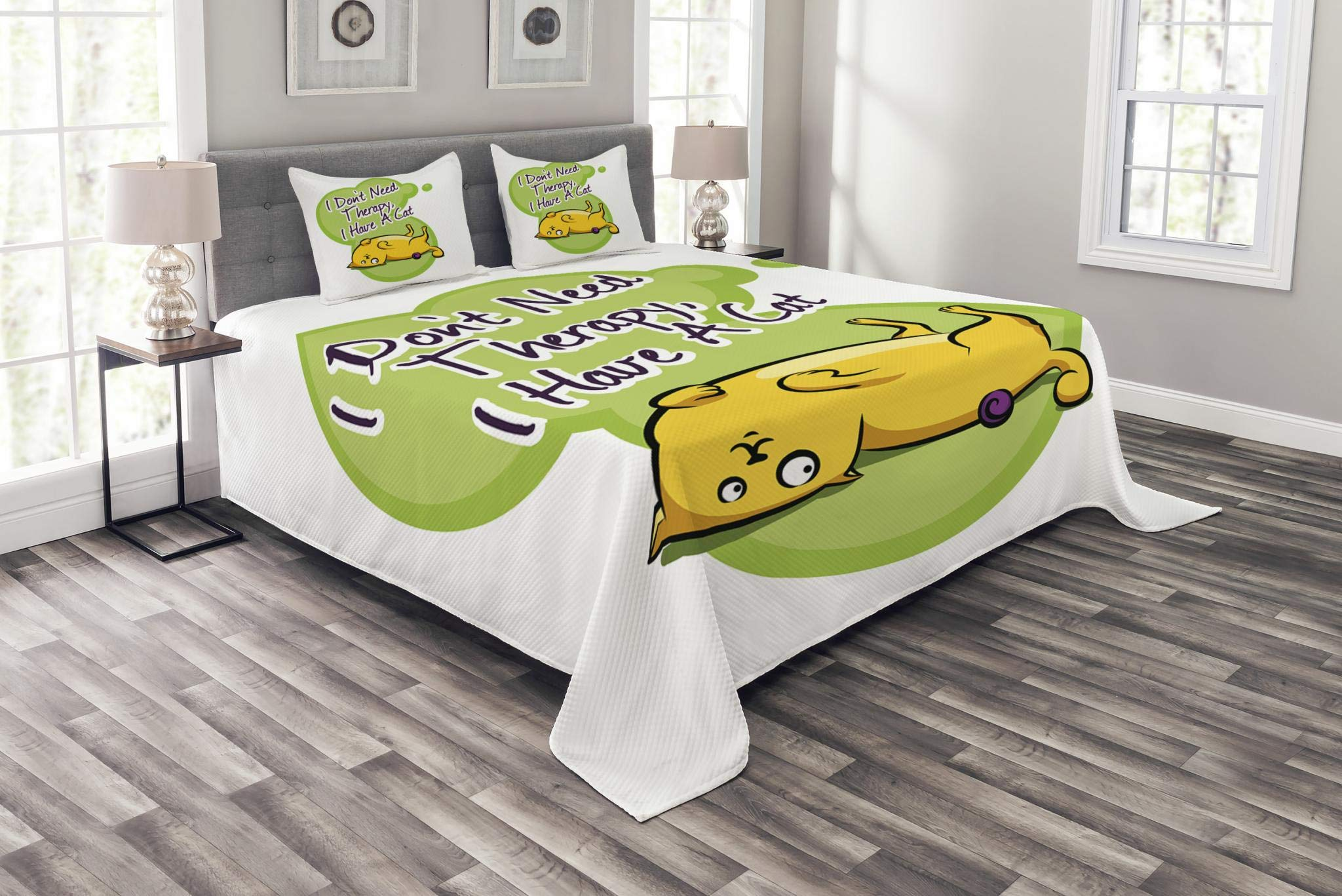 Lunarable Animal Bedspread Set Queen Size, Funny Cat I Don't Need Therapy I Need a Cat Quote Humorous Illustration, Decorative Quilted 3 Piece Coverlet Set with 2 Pillow Shams, Green Yellow Purple