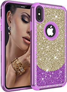 iPhone Xs Max Case, Dooge Luxury Glitter Sparkle Bling Shiny Case Slim Fit Full-Body Hybrid Heavy Duty Hard Shell Shockproof Protective Women Girl's Case for Apple iPhone Xs Max 6.5""
