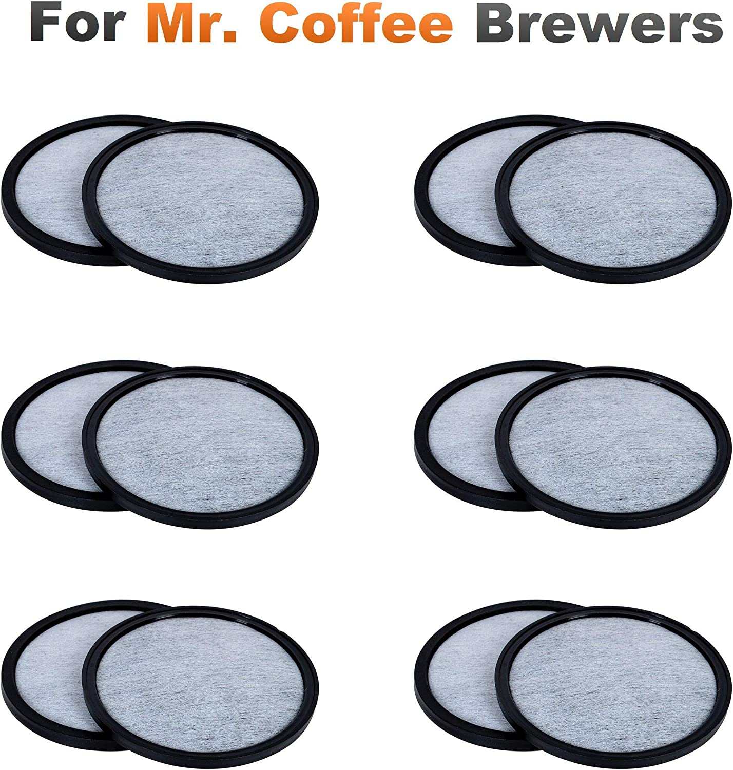 K&J 12-Pack of Compatible Mr. Coffee Water Filter Discs - Universal Fit - Replacement Charcoal Water Filter Discs for Mr Coffee Coffee Brewers - Better Than OEM!: Kitchen & Dining