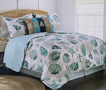 3pc Full Queen Size Coastal Teal Blue Seashell Starfish Coral Reef Quilt Set
