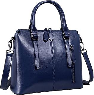 5fa2eec7f08 Heshe Womens Leather Shoulder Handbags Top Handle Bag Flap Ladies Purse  Satchel Crossbody Bags