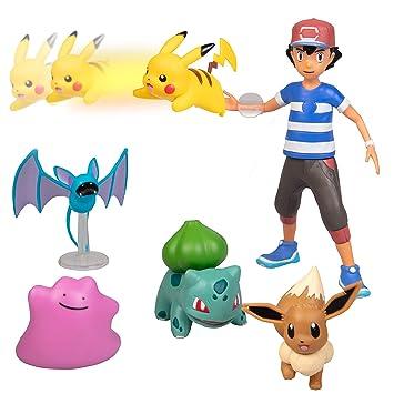 99d1d559b03897 Pokémon Battle Figure Multi Pack Set with Launching Action - Generation 1 -  Includes Ash, Pikachu, Zubat, Eevee, Ditto and Bulbasaur - 6 Pieces - ...