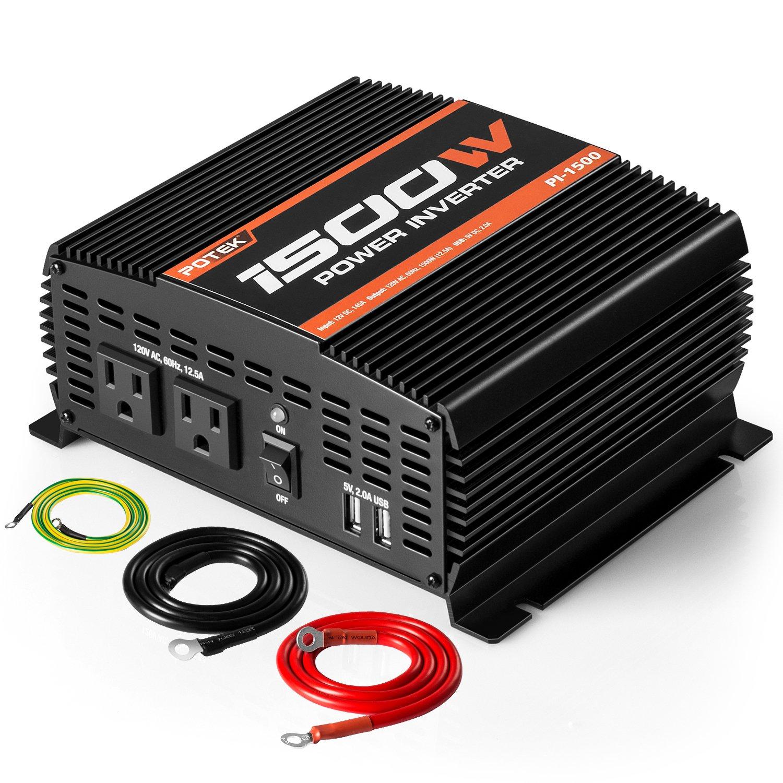 POTEK 1500W Power Inverter Dual AC Outlets DC 12V to 110V AC Car Inverter with 2 USB Ports