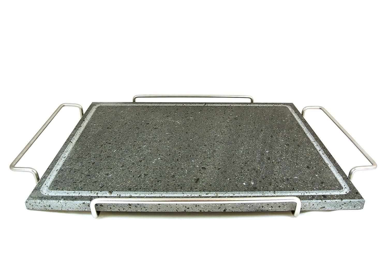 Fasa - Piastra in pietra ollare con telaio in acciaio inox grande cm.29x40