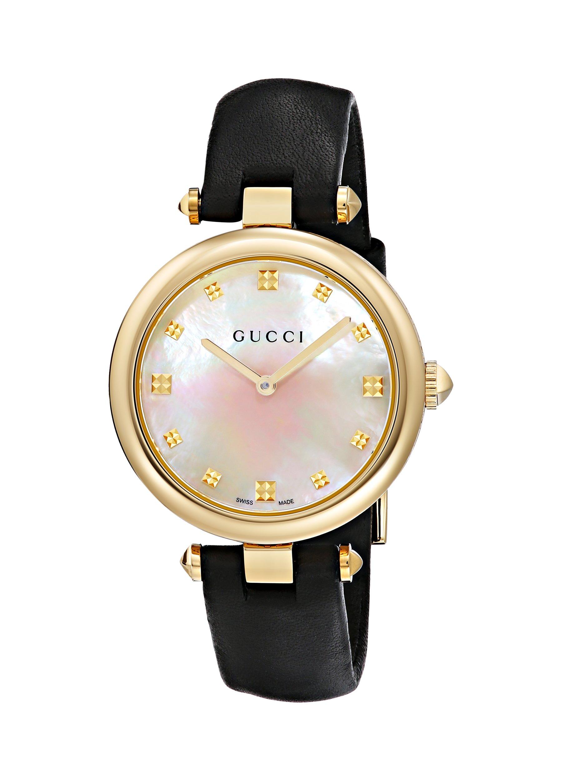 Gucci Swiss Quartz Gold-Tone and Leather Dress Black Women's Watch(Model: YA141404)