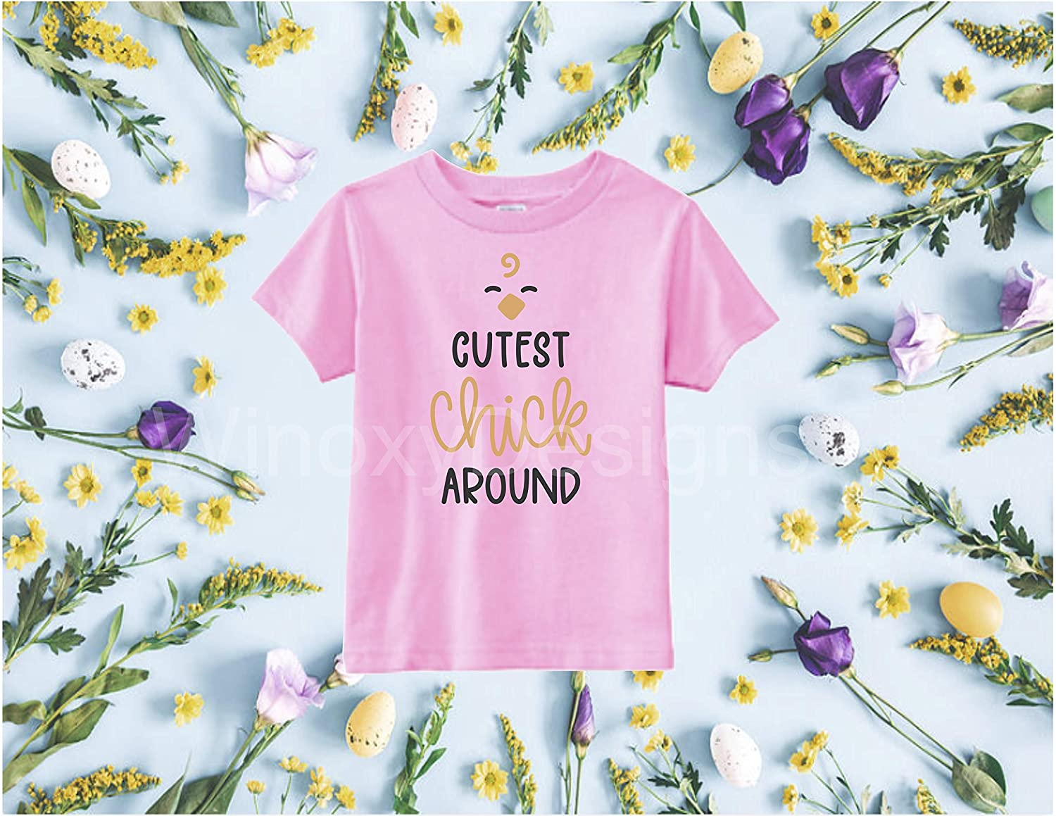 Easter Day Bodysuit Toddler Tshirt Cutest Chick Around Funny Shirt Boys Girls Shirt Easter Funny Toddler Graphic Tee