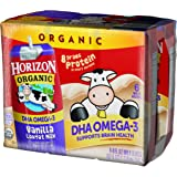 Horizon Organic Low Fat Organic Milk Box Plus DHA Omega-3, Vanilla, 6 Count (Pack of 3)