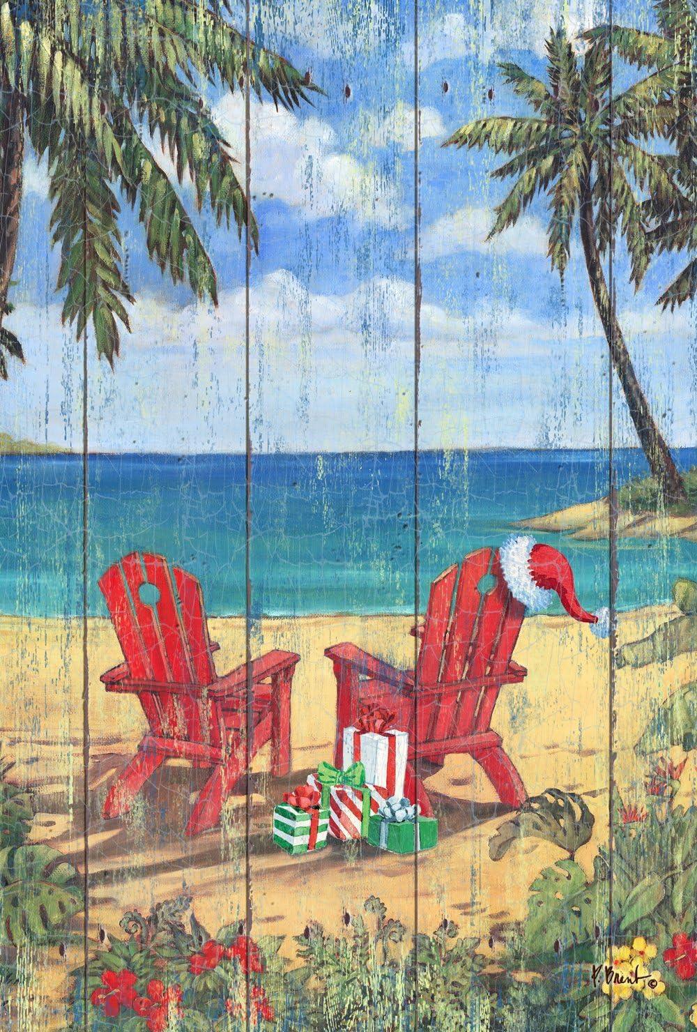 Toland Home Garden Christmas Paradise 28 x 40 Inch Decorative Beach Adirondack Tropical Island Vacation House Flag - 1010812