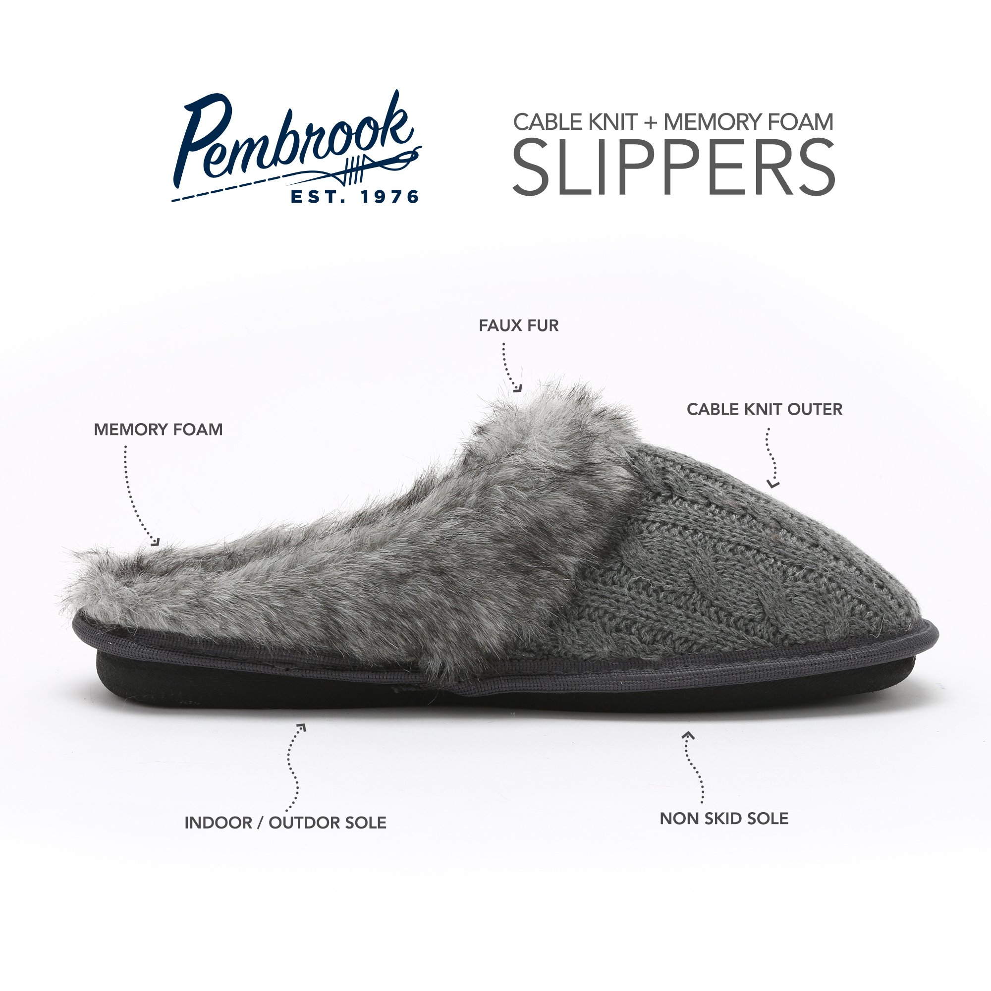 Pembrook Ladies Faux Fur + Cable Knit Slippers – Gray, Large - Comfortable Memory Foam Indoor and Outdoor Non-Skid Sole - Great Plush Slip on House Shoes for adults, women, girls by Pembrook (Image #3)