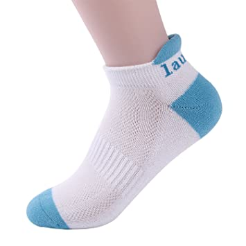 Laulax Coolmax Professional Running Socks Achilles Tendon Protecion  White Blue Toe Size