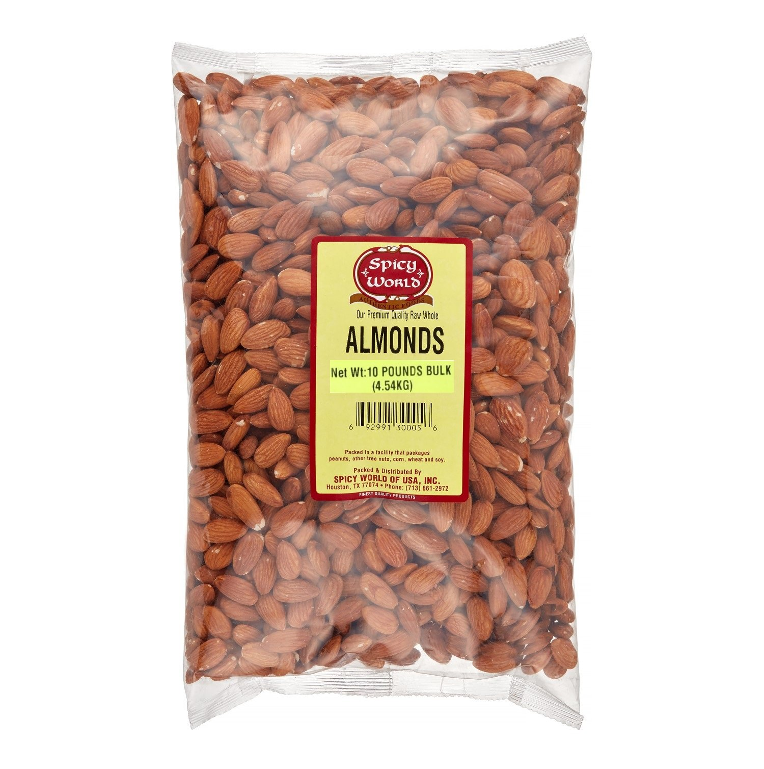 Spicy World Almonds Whole (Natural & Raw), 10 Pound
