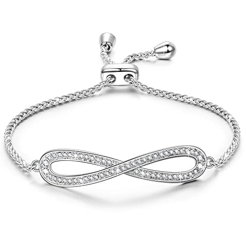 """Review LADY COLOUR Bracelets Endless Love Adjustable 6"""" - 9"""" Infinity White Gold Plated Bangle Bracelets Made with Swarovski Crystals"""