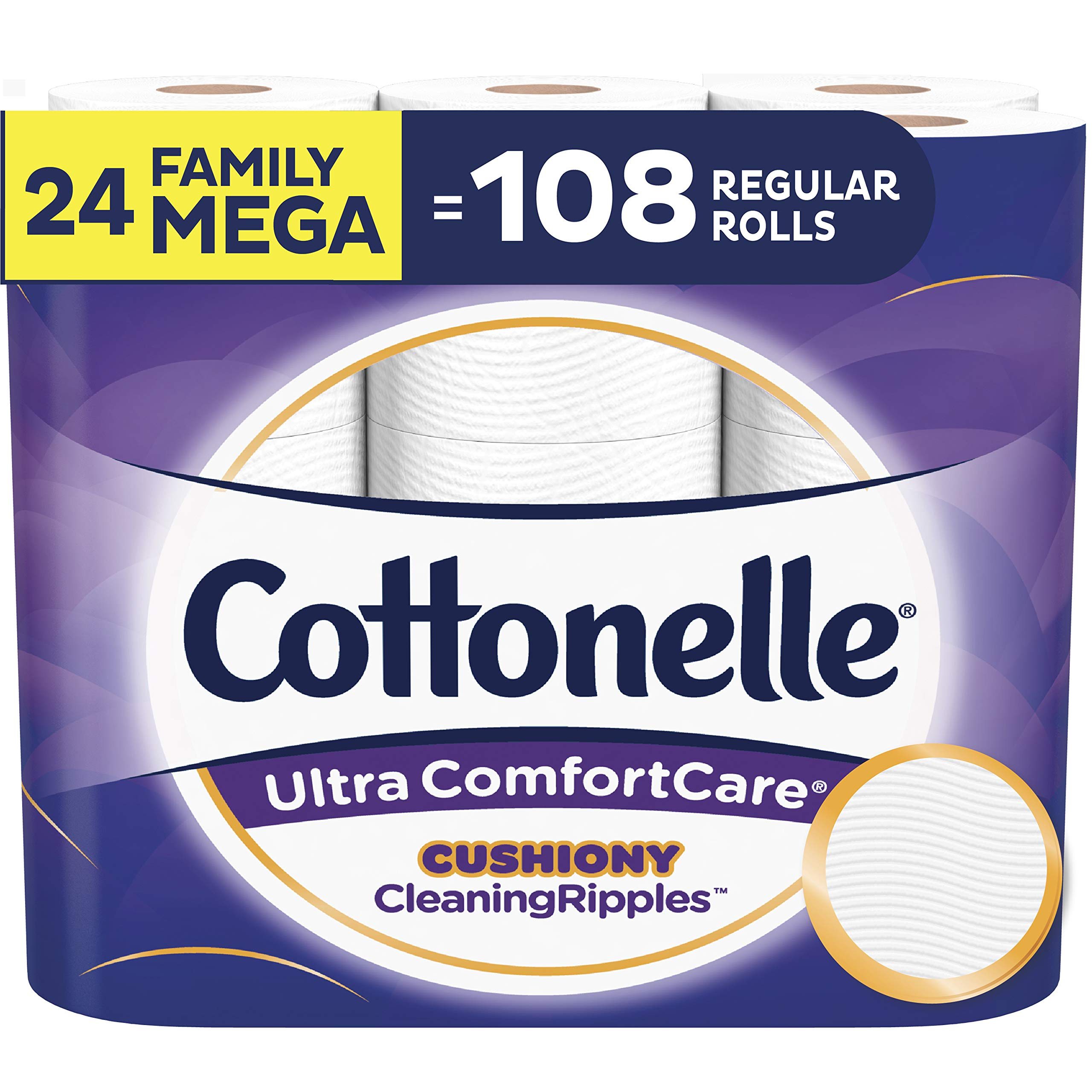 Cottonelle Ultra ComfortCare Toilet Paper with Cushiony CleaningRipples, Soft Biodegradable Bath Tissue, Septic-Safe, Family Mega Rolls, 24 Count by Cottonelle