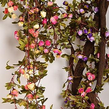 Artificial Rose Garland Silk Flower Vine For Valentine Home Wedding Garden Decoration Champagne