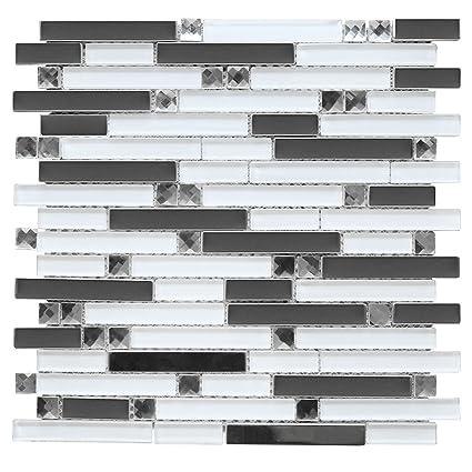 SAMPLE Glass  Metal Stainless Steel Mosaic Tile Kitchen Backsplash Black Gray
