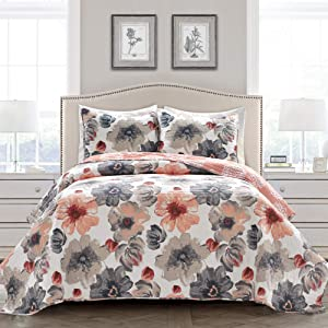 Lush Decor Leah Quilt Floral 3 Piece Reversible, King, Coral & Gray