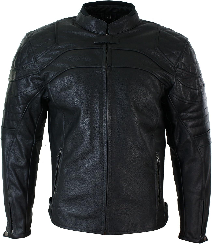 Speedpro Chaqueta de Cuero Negro para Moto con Proteccion extraíble CE para Caballero Negro