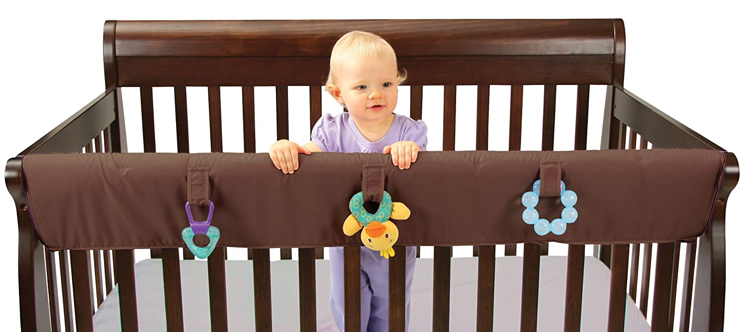 amazoncom leachco easy teether xl crib rail cover for convertible cribs chocolate childrens bed safety rails baby