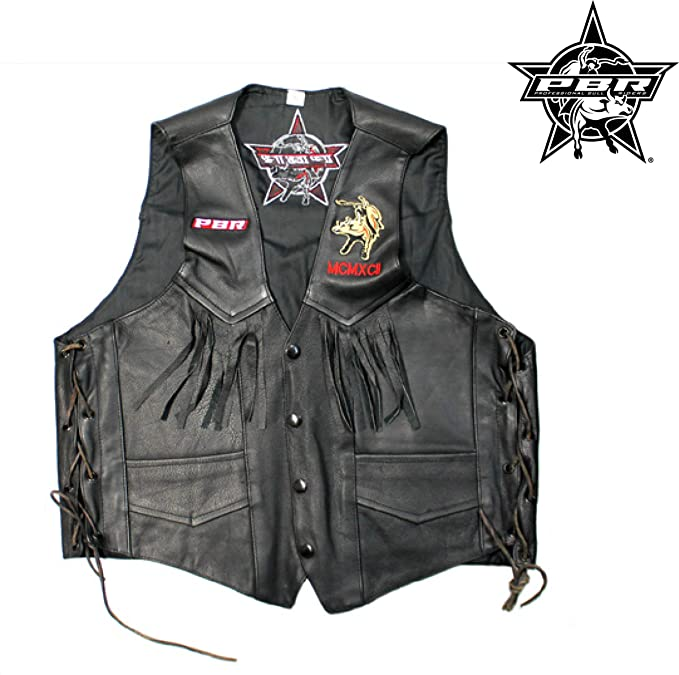 82262024e Professional Bull Riders PBR Men's Leather Vest Jacket Side-Lace ...