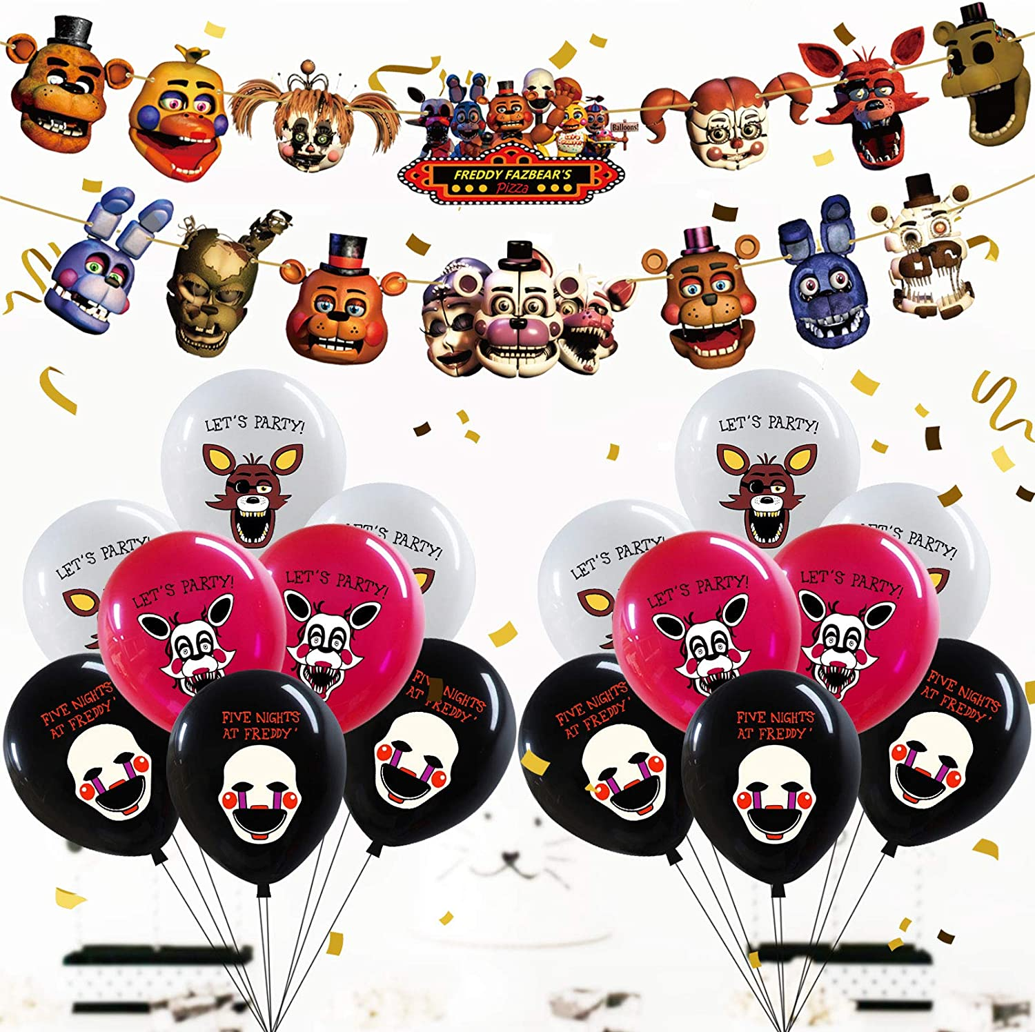 """Five Night At Freddy Happy Birthday Party Banner (Pre-assembled) Party Balloon 12"""" 18Pack – Five Night At Freddy Theme Party Supplies Decorations for Kids Girls Wall Door Outdoor Indoor Décor"""