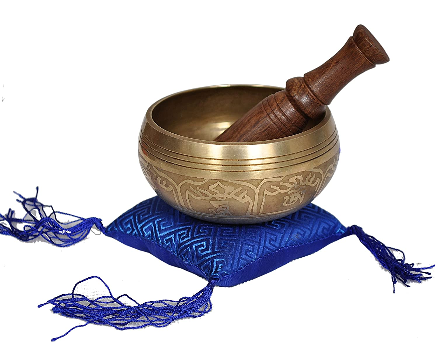 Dharma Store - Tibetan Meditation Yoga Singing Bowl Set Hand Carving for Relaxation and Healing With Mallet & silk Cushion